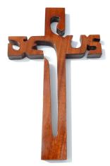 Kríž: drevený JESUS - mahagón (221)