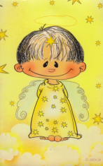 Obrázok na dreve: Anjel Zlatúšik - žltý