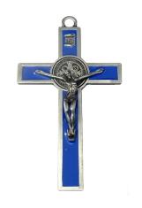 Kríž: kovový, Benediktínsky - modrý (K2063S)