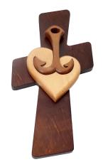 Drevorezba: prírodné srdce, kotva, kríž (JC01)