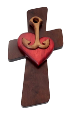 Drevorezba: červené srdce, kotva, kríž (JC01)