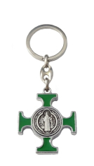 Kľúčenka: Benediktínska - zelená, kovová (KP014NS)