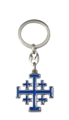 Kľúčenka kov. (KP013NS) Jeruz. kríž - modrá