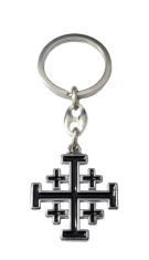 Kľúčenka: Jeruzalemský kríž - čierna, kovová (KP013NS)