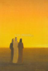 Pohľadnica bez textu / Záborský (002) - Vzkriesený Kristus s učeníkmi na ceste do Emauz