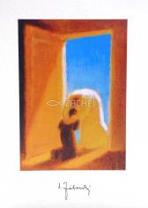 Pozdrav: Boh a človek v nebeskej bráne - bez textu (PZ004) - s obálkou