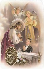 Kartička: sv. prijímanie - chlapec (RCC 73 SK) - Modlitba pred a po sv. prijímaní, plastová