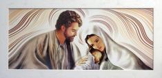 Obraz v ráme: Sv. rodina - biely (ODZ031) - na dreve