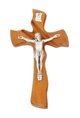 Kríž: drevený, mašľový s korpusom - hnedý (016)