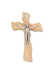 Kríž: drevený, mašľový s korpusom - prírodný (010)