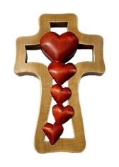 Kríž: drevený - 5 sŕdc (LK014)