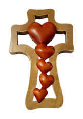 Kríž: drevený, 5 sŕdc - mahagón (LK013)