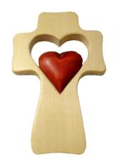 Kríž: drevený, srdce v srdci - bordové (LK007)