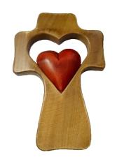 Kríž: drevený, srdce v srdci - bordové (LK006)