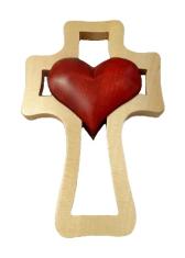Kríž: drevený, 1 srdce - bordové (LK005)