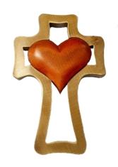 Kríž: drevený, 1 srdce - mahagón (LK003)