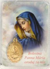 Kartička: Bolestná Panna Mária, s medailónom (RCM) - v púzdre