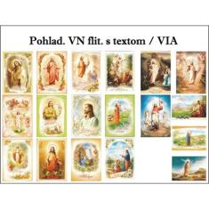 Pohľadnica: Veľkonočná flit.,  s textom (Via) - Balené po 100 ks mix, Cena za 1 ks