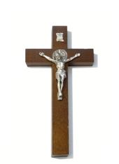 Kríž: drevený s Benediktínskou medailou (KVZ002) - 20 cm - hnedý