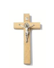 Kríž: drevený s Benediktínskou medailou (KVZ001) - 16 cm - prírodný
