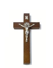 Kríž: drevený s Benediktínskou medailou (KVZ001) - 16 cm - hnedý