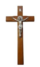Kríž: drevený s Benediktínskou medailou (KVZ003) - 26 cm - hnedý