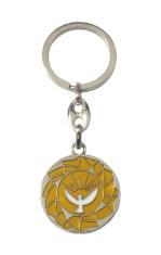 Kľúčenka: Holubica - žltá, kovová (KP029) - Priemer: 3 cm