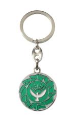 Kľúčenka kov. (KP029) zelená - Holubica - Priemer: 3 cm