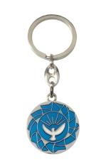 Kľúčenka: Holubica - modrá, kovová (KP029) - Priemer: 3 cm