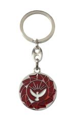 Kľúčenka: Holubica - červená, kovová (KP029) - Priemer: 3 cm