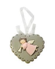 Dekoratívne srdce s anjelom (201014) - sivé