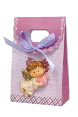 Darčeková taška: s anjelom - ružová (212004A)