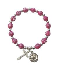 Náramok: s krížikom - ružový (BC104)