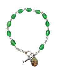 Náramok: desiatok - zelený (BC590) - medailón sv. Antóna