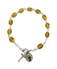 Náramok: desiatok - tm. žltý (BC590) - medailón sv. Františka z Assisi