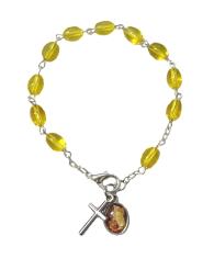 Náramok: desiatok - bl. žltý (BC590) - medailón Anjela strážneho