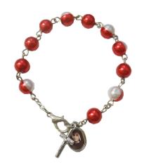 Náramok: desiatok s medailou - červený (BC823)