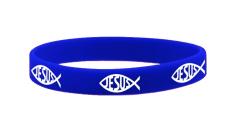 Náramok: JESUS, gumený - tm. modrý (1532-11)