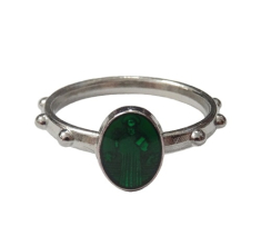 Prsteň kov. sv. Benedikt - zelený