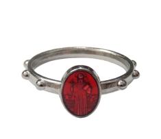 Prsteň kov. sv. Benedikt - červený