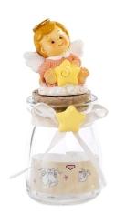 Sklenená dóza: anjel ružový s hviezdou (PB15388A)