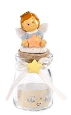 Sklenená dóza: anjel modrý s hviezdou (PB15387A)