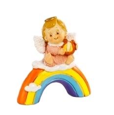 Anjel na dúhe: ružový s harfou (PB15384D)