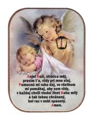 Magnetka: Anjel s lampášom, drevená (1243B) - s modlitbou