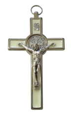 Kríž: kovový, Benediktínsky - fosforový (4340)