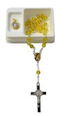 Ruženec: Benediktínsky - žltý, s medailónom (RSZ013) - s krabičkou