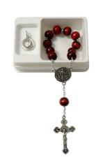 Ruženec: desiatok, Benediktínsky - bordový, s medailónom (RSZ012) - v krabičke