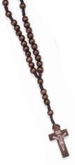 Ruženec: drevený, na šnúrke - hnedý (R282)