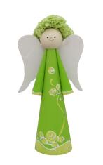 Anjel drevený - zelený (ADZ007)