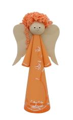 Anjel drevený - oranžový (ADZ007)